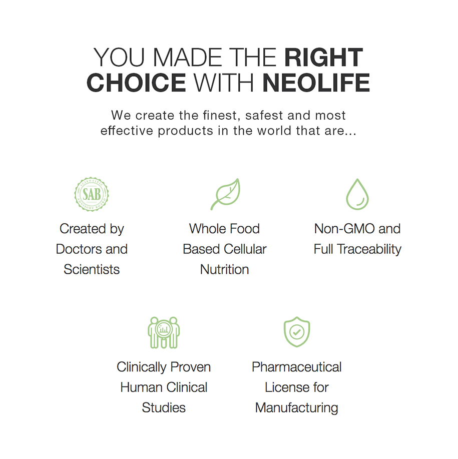 You made the Right Choice with NeoLifeWe create the finest, safest and most effective products in the world that are... Created by Doctors and Scientists, Whole Food Based Cellular Nutrition, Non-GMO and Full Traceability, Clinically Proven Human Clinical Studies, Pharmaceutical License for Manufacturing, Read more about the NeoLife Quality Difference